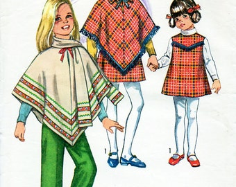 1970s Girl's Poncho, Jumper Dress, Pants & Scarf Pattern Simplicity 8944 Child's Vintage Sewing Pattern Size 8