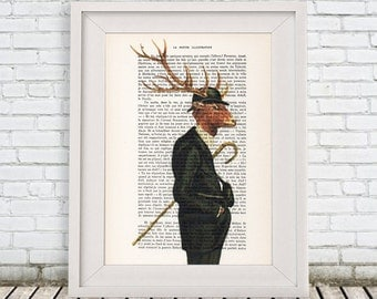 Deer with Antlers Print, Stag Head Artwork, Deer Antlers, 8x10, Print from Painting on canvas, Gift for men, Brown Stag,Art Print,Wall Decor