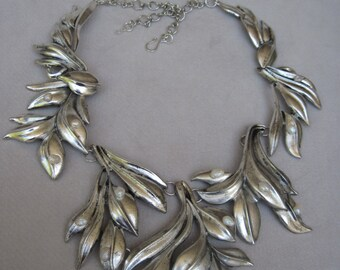 Bold Antique Silver Cascading Leaf Branches with Freshwater Pearls Collar Bib Necklace