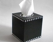 BLACK & BLING Tissue Box Cover - Decorative Handpainted Black w/Sparkling Clear Rhinestones