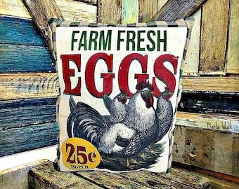 Primitive Rooster & Hen Pillow | Accent Pillow | Hen Pillow | Folk Art chicken | Farmhouse decoration