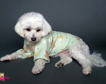 2 Leg Dog Pajamas, 4 Leg Dog PJs, Pastel Green with Teddy Bears