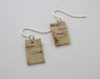 Birch Bark Rectangle OOAK Earrings