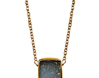 gray druzy slab necklace
