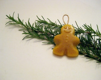 Beeswax Gingerbread Man Christmas Ornament Scented