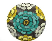 Mouse Pad - Round Fabric mousepad - Floral in teal, mustard and grey - Home office / computer / Electronic