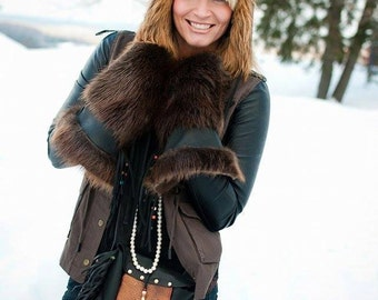 Gold Fox Fur Aviator Hat - Made to order