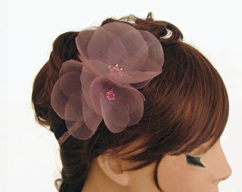 Bridal Headband, Smoky Pink Organza Hair Flower, Floral Crown Boho Romantic Wedding Headdress, Blush Flower Headband