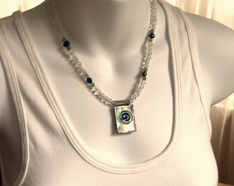 Glass spiral pendant necklace and earring set
