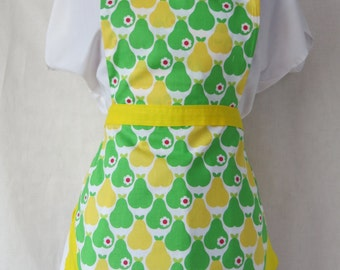 Yellow and Green Pear Sweetheart Full Front Adult Apron / Yellow Summer Apron / Green Vintage Inspired Apron