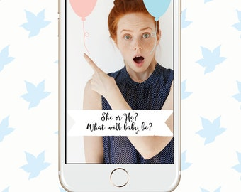 Snapchat Geofilter Gender Reveal Party - Instant Download - Pink and Blue - Boy or Girl - On-demand Geofilter - He or She - Baby Shower
