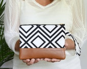Wristlet Wallet, iPhone Pouch, Vegan Leather Zippered Pouch, Clutch Purse, Handbag, Gifts for Her, Bridesmaid Gift