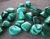 MALACHITE STONES TUMBLED  52 - 18 grms Sea Salt Loose Love Crystal Chakra Heal Courage Charm Reiki Meditation Medicine Bag Feng Shui Balance