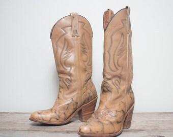 8 M | Women VTG Miss Capezio Boots Stacked Heel Snakeskin Cowboy Boots