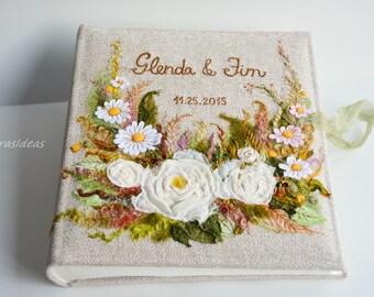 Custom Made Personalized embroidered Photo Album, Rustic Wedding  photo album, Large linen album, linen photo album, Family album, gift idea