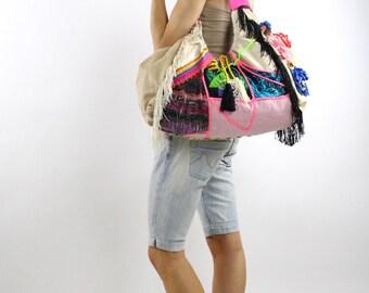 ON SALE Oversize Shoulder bag colorful patchwork, beach bag fabric purse Hobo bag fabric handbags patchwork bag gift for her oversized bag