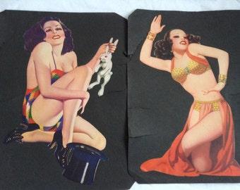 1940's Girlie Scrap book Art Pair. Exotic Hollywood Glamour.  Tiki Bar, Mid Century Modern, Hawaiian, Eames era. Vintage.