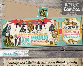 Vintage Zoo Ticket Invitation - INSTANT DOWNLOAD - Editable & Printable Animals, Elephant, Lion, Zebra Birthday Party Invite