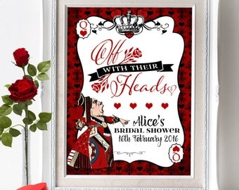 Queen of Hearts Party Sign - INSTANT DOWNLOAD - Editable & Printable Birthday Baby Bridal Shower Party Decorations by Sassaby Parties