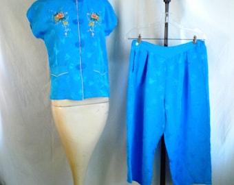 1950's Pajamas Asian Rayon Vintage Pajamas Embroidered Short Pants