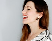 Statement Earrings - Rectangles in black and gold.