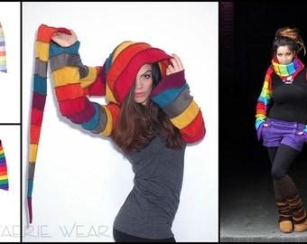 6 tone - Rainbow Fleece 'Korrigan' Shrug. 24 stripe ultimate pixie hood / 12 stripe Sidhe sleeves