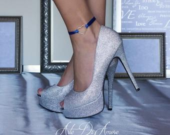Something Blue Heart Ribbon Wedding Anklet for Bride