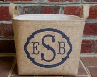 Triple Monogram Small Burlap Basket - personalized burlap bin handmade in the USA