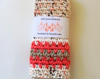Linen Striped Cotton Dishcloths - Spa Washcloths - Baby Washcloths - Coral Sands - Set of 2 in Neutral Multi with Coral and Brown Stripes