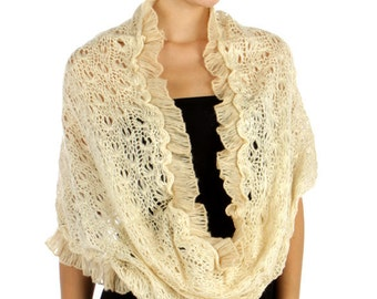 SUPER SALE 25.00 Oatmeal Creme, Beige, Crochet Scarf, Creme Infinity Loop Scarf, Snood, Cowl, Cozy Scarf, Chunky Knitted Scarf