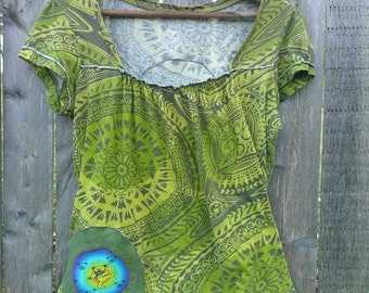 Sale WOMEN'S SMALL TOP Get Down UpCycled Grateful Dead Top Dancing Bear Jerry Bear t-shirt, ready to ship, Free gift wrap option