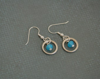 Swarovski Dangle earrings aqua blue crystals - made from small mechanical cogs and crystals