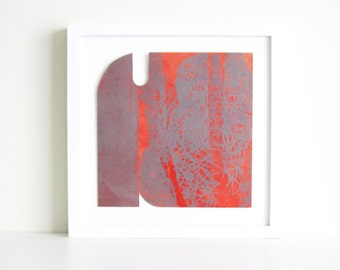 "TAKE 50% off ... Use code SALE50 @ checkout.. Monoprint. Abstract Art. Red White + Gray Home Decor: ""Form 7"".  Print Size 9.5"" x 9.5"""