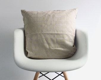 Penn Grid 22x22 pillow cover handprinted in metallic blush on natural organic hemp