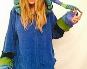 Blue green jumper Elf jumper hoodie sweater by Hope Floats Upcycled xl
