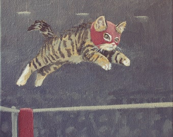Luchador Kitty. print of an original acrylic painting