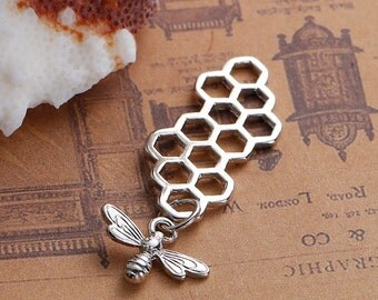 10 Queen Bee Honeycomb Charm Pendants, silver bee dangling below, 46x16mm, chs2529