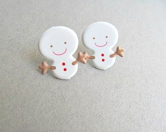 Snowman Stud Earrings in Holiday Red Green Gumdrops