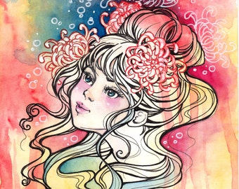 Art Nouveau Fantasy Art Print, Floral Daydreams, Chrysanthemum Flowers Girl