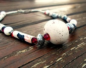 Henrietta, ooak handrolled fiber bead necklace,ceramic center bead, glass beads, floral