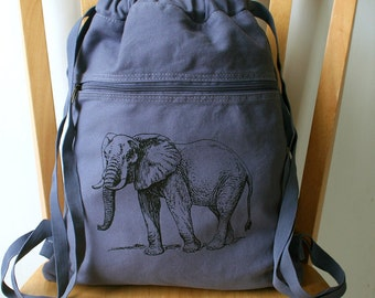 Elephant Backpack Canvas Book Bag Laptop Bag