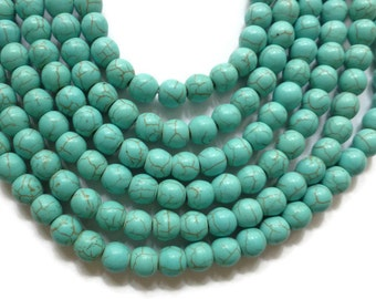 Blue Turquoise Howlite - 8mm Round Bead - 50 beads - Full Strand - Sky Blue - synthetic turquoise
