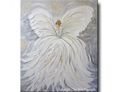 GICLEE PRINT Art Abstract Angel Painting White Grey Gold Christmas Decoration Gift Wall Art Home Decor Acrylic Painting Spiritual- Christine