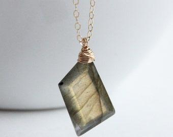 Labradorite Necklace,  Gemstone Briolette Jewelry, Color Flash Labradorite Necklace, Geometric Nugget Necklace