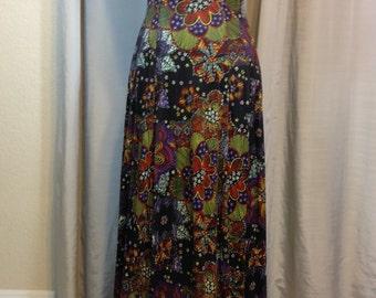 Vintage Long Black Flower Child Hippie Dress Junior Size 7 Wiggle Dress Previously 30 Dollars ON SALE (ss)