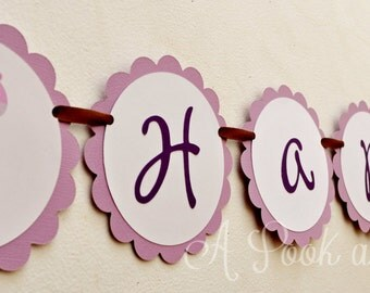 Purple Giraffe Personalized Happy Birthday Banner Customizable for Showers and Colors