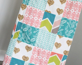 Baby Girl Blanket, Coral Mint Gold Baby Quilt, Gold Heart Baby Girl Crib Blanket