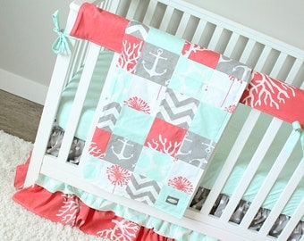 Ocean Baby Girl Crib Bedding Coral Mint Gray Set Mermaid