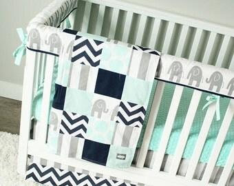 Baby Boy Crib Bedding Navy Gray Chevron Orange and Lime