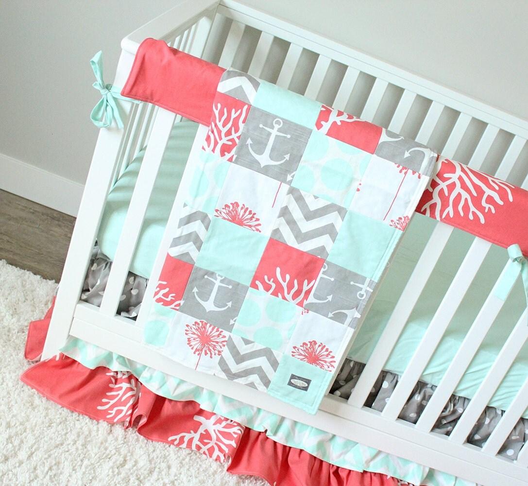 Ocean Baby Girl Crib Bedding Coral Mint Gray Baby Bedding